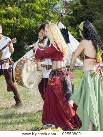 Medieval dancers. Color image