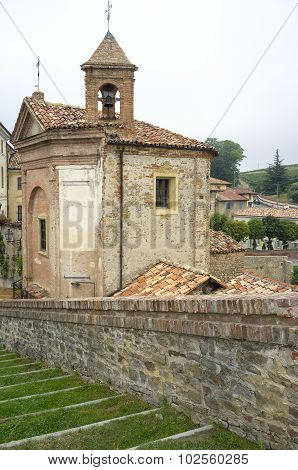 Monforte d'Alba: the village church. Color image