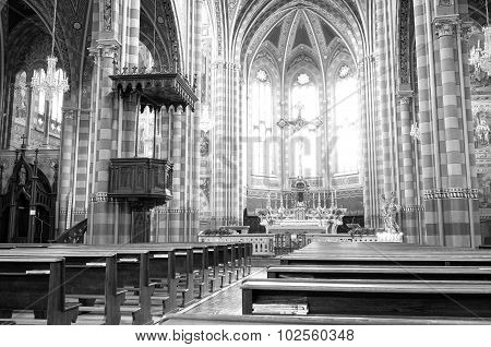 Monforte d'Alba: the village church internal. Black and white photo