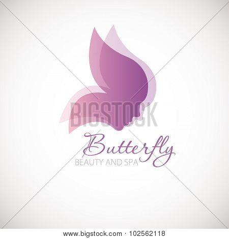 Vector illustration with Butterfly symbol. Two womans faces in a shape of butterfly wings. Logo design.  For beauty salon, spa center, health clinic
