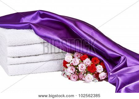 Spa Towels with Roses