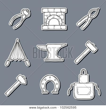 Set of cartoon stickers in hand drawn style on blacksmith theme: horseshoe, sledgehammer, vise, oven