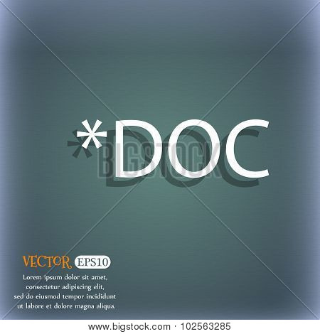 File Document Icon. Download Doc Button. Doc File Extension Symbol. On The Blue-green Abstract Backg