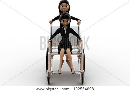 3D Woman Help On Wheel Chair Concept