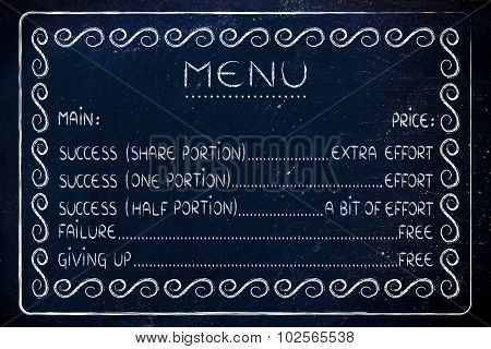 Funny Menu Of Lifestyle Choices: Work For Success Or Fail For Free