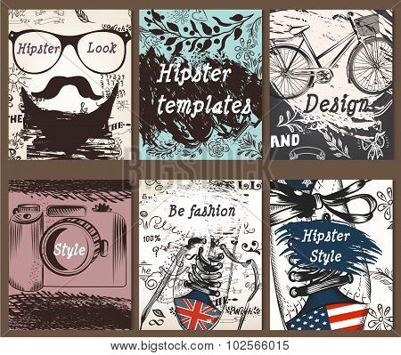 Collection Of Vintage Creative Cards With Hand Sketched Hipster Textures
