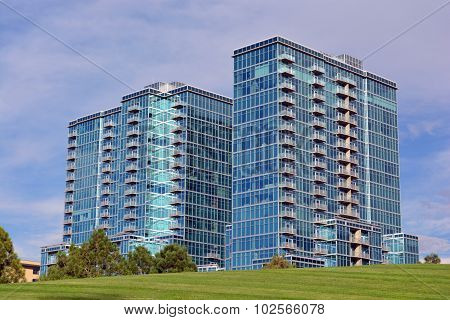 Two Tall Blue Buildings