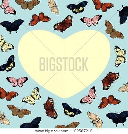 Beautiful card with cute colorful butterflies and heart-shaped place for your text or photo (raster version)