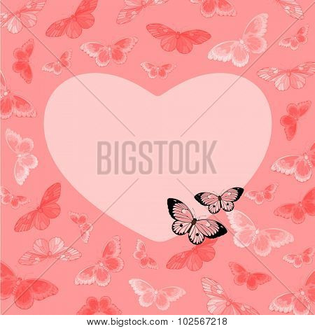 Beautiful pink card with butterflies and heart-shaped place for your text or photo (raster version)