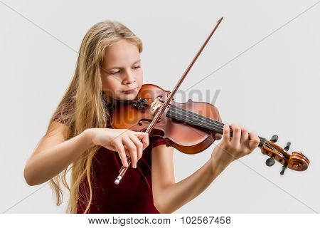 Blonde girl with violin