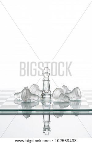 Chess King Winning Pawns, Leadership Strategy Winning  Plan