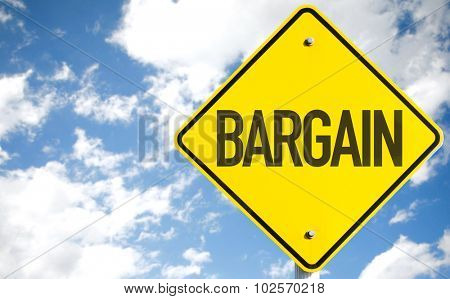 Bargain sign with sky background