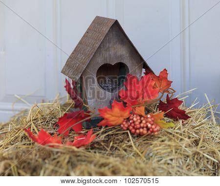 Rustic Autumn Birdhouse Decoration