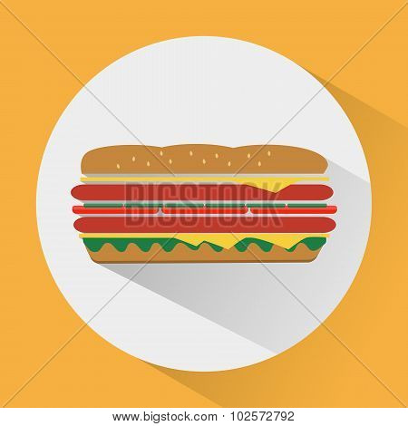 Sandwich Colorful Round Icon