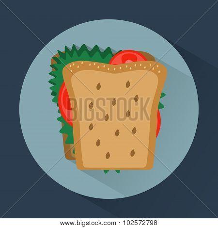 Sandwich Colorful Round Icon