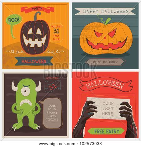 Vector illustration Halloween Cards set