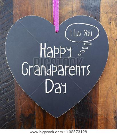 Happy Grandparents Day Heart Shape Blackboard
