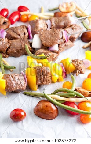 Raw Beef Shish Kabobs