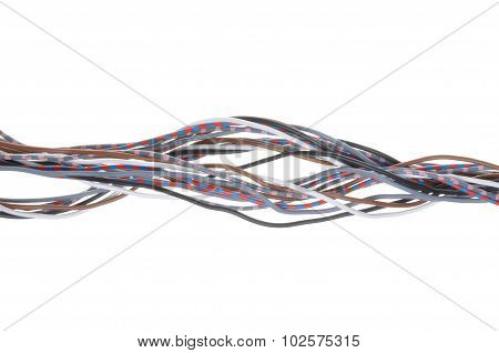 Multicolored cable isolated on white background