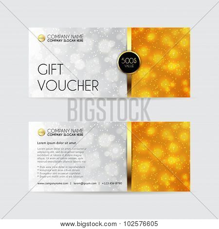 Gift Voucher Template With A Effect Bokeh