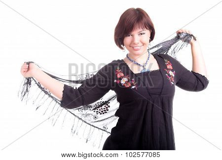 Brunette Girl In Black Dress With Lace Triangular Scarf