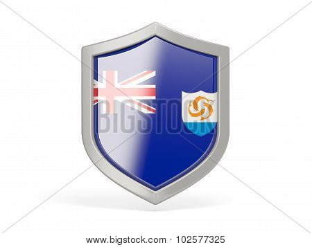 Shield Icon With Flag Of Anguilla