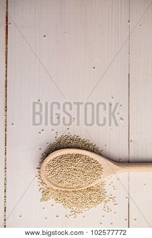 Overhead view of sesame seed with spoon on the table