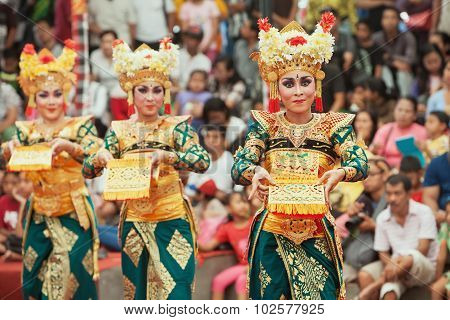 Balinese Women Dancing Traditional Temple Dance Legong