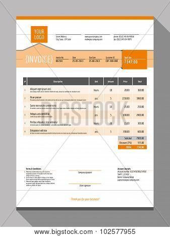 Vector Customizable Invoice Form Template Design. Vector Illustration. Orange Color Theme