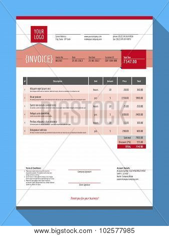 Vector Customizable Invoice Form Template Design. Vector Illustration. Red Color Theme