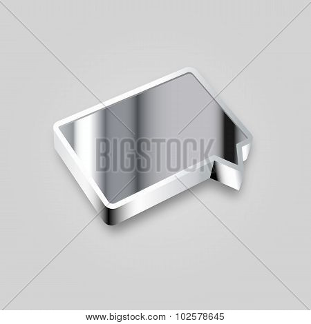 3D Rectangular Rounded Metal Empty Chat Cloud