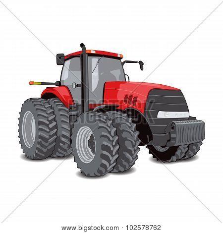 Farm tractor with big wheels.