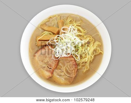 Ramen Japanese noodle soup with topping slice pork and vegetable