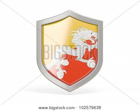 Shield Icon With Flag Of Bhutan