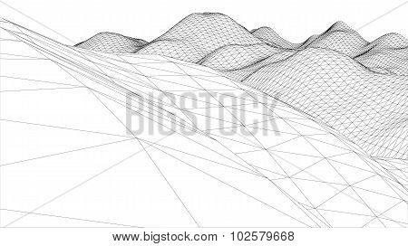 3D Wireframe Wave Surface