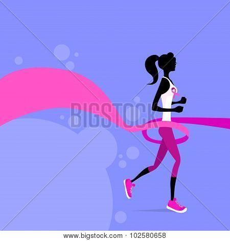 Sport Woman Running Pink Ribbon Breast Cancer Awareness Joggin Female