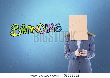 Anonymous businessman using phone against purple vignette
