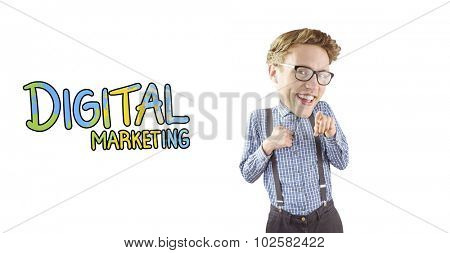 Geeky businessman pointing against digital marketing