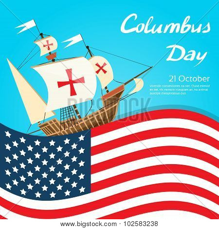 Happy Columbus Day Ship Holiday Poster United States America Flag