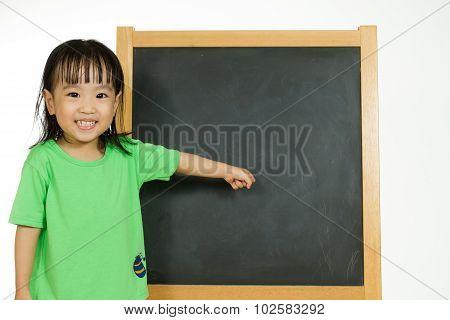 Chinese Little Girl With Blank Blackboard