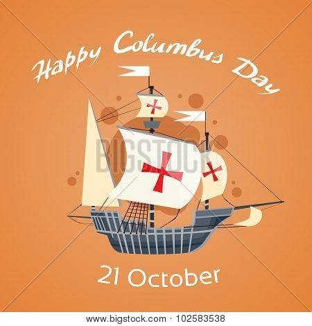 Happy Columbus Day Ship Holiday Poster Flat