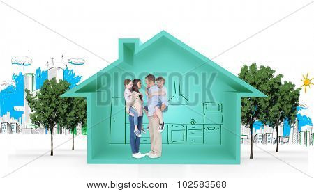 Side view of parents giving piggyback ride to children against house shape with kitchen sketch