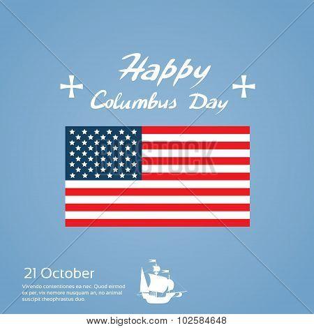 Happy Columbus Day Ship Holiday United States America Flag