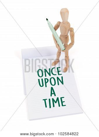 Wooden Mannequin Writing - Once Upon A Time