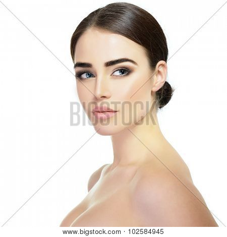 Majestic woman's beauty. Portrait of girl over white background. Beauty treatment, cosmetology, spa, health care, body and skin care concept.