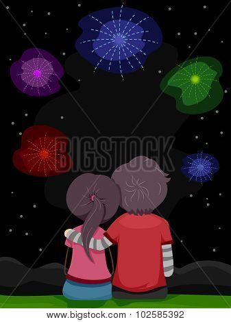 Stickman Illustration of a Couple Enjoying a Fireworks Show