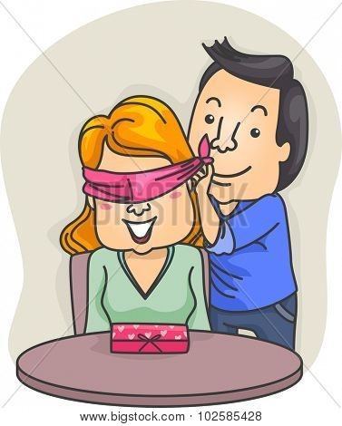 Romantic Illustration of a Man Blindfolding His Girlfriend Before Unveiling His Surprise