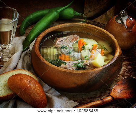 Soup With Pork Rib Stew, Vegetables And Vodka