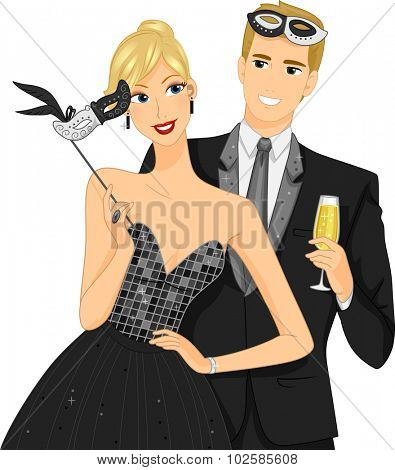 Illustration of a Couple at a Masquerade Ball Removing Their Masks