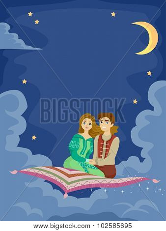 Romantic Illustration of a Man Taking His Girlfriend on a Flying Carpet Ride